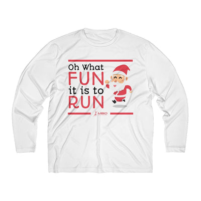 Oh What Fun it is to Run Men's Long Sleeve Tech Shirt Long-sleeve Printify Sport-Tek White XS