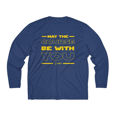 May The Course Be With You Men's Long Sleeve Tech Shirt Long-sleeve Printify Sport-Tek True Navy XS