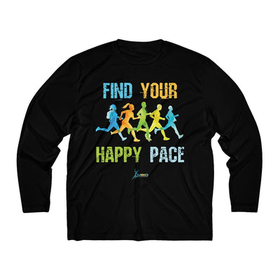 Find Your Happy Pace Men's Long Sleeve Tech Shirt Long-sleeve Printify Sport-Tek Black XS