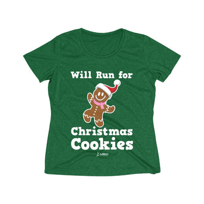 Will Run for Christmas Cookies Women's Short Sleeve Tech Shirt T-Shirt Printify Sport-Tek Forest Green Heather XS
