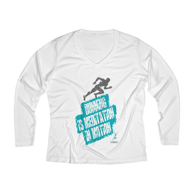 Running is Meditation in Motion Women's Long Sleeve Tech Shirt Long-sleeve Printify White L
