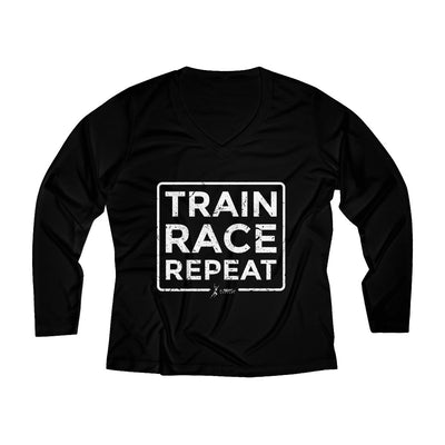 Train Race Repeat Women's Long Sleeve Tech Shirt Long-sleeve Printify Black XS
