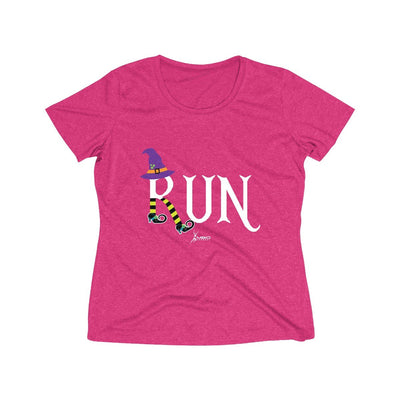Running Witch Halloween Women's Short Sleeve Tech Shirt T-Shirt Printify Sport-Tek Pink Raspberry Heather XS