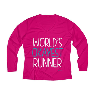 World's Okayest Runner Women's Long Sleeve Tech Shirt Long-sleeve Printify Sport Tek Pink Raspberry XS