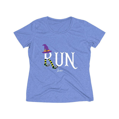 Running Witch Halloween Women's Short Sleeve Tech Shirt T-Shirt Printify Sport-Tek True Royal Heather XS