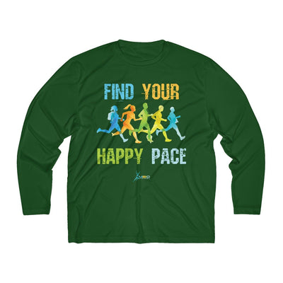 Find Your Happy Pace Men's Long Sleeve Tech Shirt Long-sleeve Printify Sport-Tek Forest Green XS