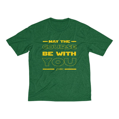 May The Course Be With You Men's Short Sleeve Tech Shirt T-Shirt Printify Sport-Tek Forest Green Heather XS
