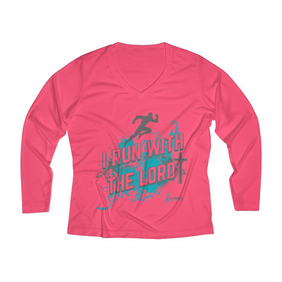 I Run With the Lord Women's Long Sleeve Tech Shirt Long-sleeve Printify Sport Tek Hot Coral XS
