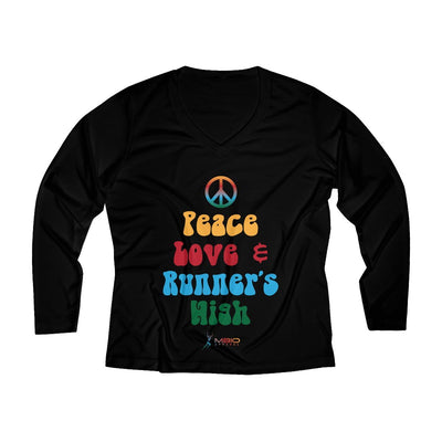 Peace, Love, and Runner's High Women's Long Sleeve Tech Shirt Long-sleeve Printify Black XS