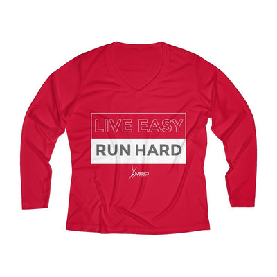 Live Easy Run Hard Women's Long Sleeve Tech Shirt Long-sleeve Printify Sport Tek True Red XS