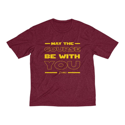 May The Course Be With You Men's Short Sleeve Tech Shirt T-Shirt Printify Sport-Tek Cardinal Heather L