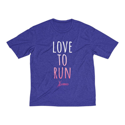 Love To Run Men's Short Sleeve Tech Shirt T-Shirt Printify Sport-Tek Cobalt Heather XS