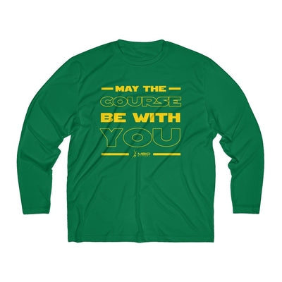 May The Course Be With You Men's Long Sleeve Tech Shirt Long-sleeve Printify Sport-Tek Forest Green XS