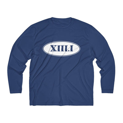 Half Marathon Roman Numeral Oval Men's Long Sleeve Tech Shirt Long-sleeve Printify Sport-Tek True Navy XS