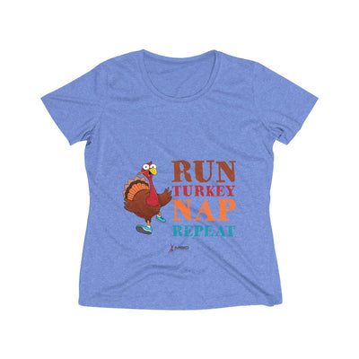 Run Turkey Nap Repeat Women's Short Sleeve Tech Shirt T-Shirt Printify Sport-Tek True Royal Heather XS