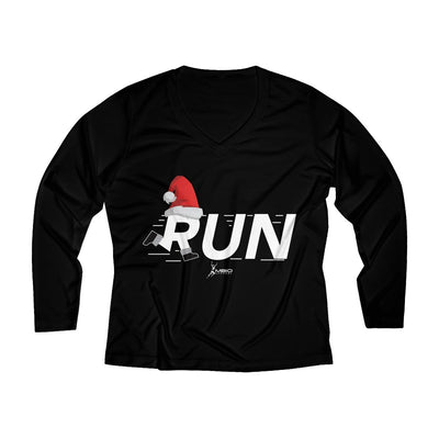 Christmas Run Women's Long Sleeve Tech Shirt Long-sleeve Printify Black XS