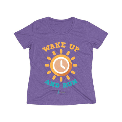 Wake Up and Run Women's Short Sleeve Tech Shirt T-Shirt Printify Sport-Tek Purple Heather XS