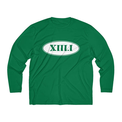 Half Marathon Roman Numeral Oval Men's Long Sleeve Tech Shirt Long-sleeve Printify Sport-Tek Forest Green XS