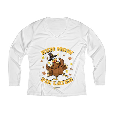 Run Now Pie Later Women's Long Sleeve Tech Shirt Long-sleeve Printify White XS