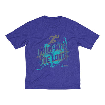 I Run With the Lord Men's Short Sleeve Tech Shirt T-Shirt Printify Sport Tek Cobalt Heather XS