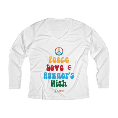 Peace, Love, and Runner's High Women's Long Sleeve Tech Shirt Long-sleeve Printify White L