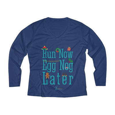 Run Now Eggnog Later Women's Long Sleeve Tech Shirt Long-sleeve Printify Sport-Tek True Navy XS