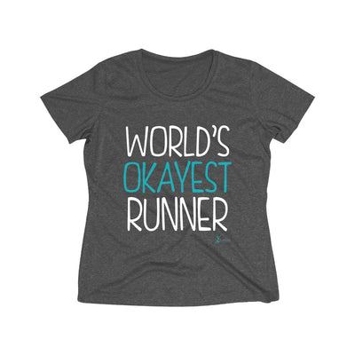 World's Okayest Runner Women's Short Sleeve Tech Shirt T-Shirt Printify Sport-Tek Graphite Heather L