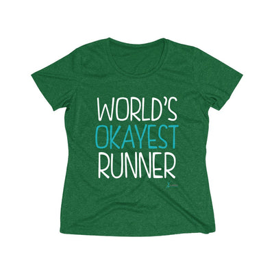 World's Okayest Runner Women's Short Sleeve Tech Shirt T-Shirt Printify Sport-Tek Forest Green Heather XS