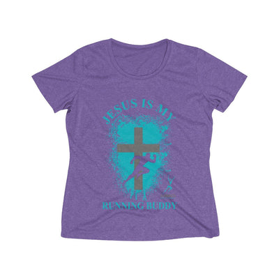 Jesus is My Running Buddy Women's Short Sleeve Tech Shirt T-Shirt Printify Sport-Tek Purple Heather XS