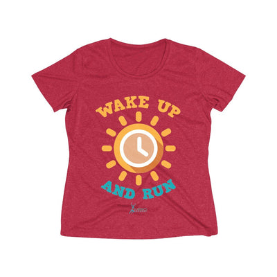 Wake Up and Run Women's Short Sleeve Tech Shirt T-Shirt Printify Sport-Tek Scarlet Heather XS