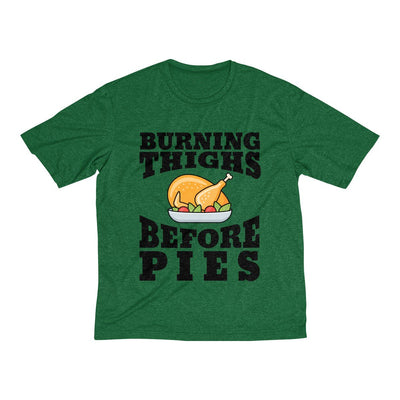 Burning Thighs Before Pies Men's Short Sleeve Tech Shirt T-Shirt Printify Sport-Tek Forest Green Heather XS