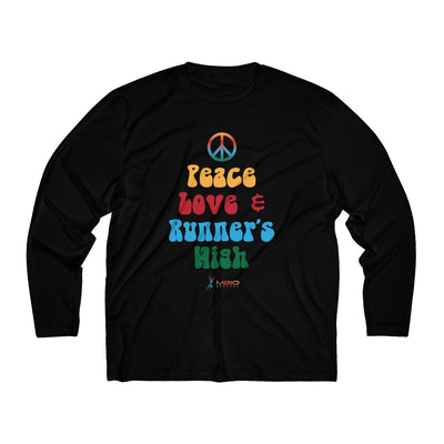 Peace, Love, and Runner's High Men's Long Sleeve Tech Shirt Long-sleeve Printify Black XS