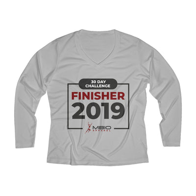 2019 30 Day Challenge Finisher Women's Long Sleeve Tech Shirt Long-sleeve Printify Sport Tek Silver XS