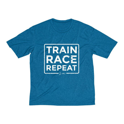 Train Race Repeat Men's Short Sleeve Tech Shirt T-Shirt Printify Sport Tek Blue Wake Heather L