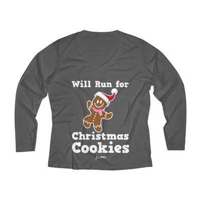 Will Run for Christmas Cookies Women's Long Sleeve Tech Shirt Long-sleeve Printify Sport-Tek Iron Grey L