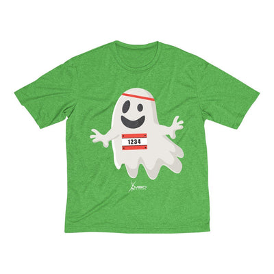 Happy Ghost Runner Halloween Men's Short Sleeve Tech Shirt T-Shirt Printify Sport-Tek Turf Green Heather XS
