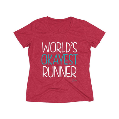 World's Okayest Runner Women's Short Sleeve Tech Shirt T-Shirt Printify Sport-Tek Scarlet Heather XS