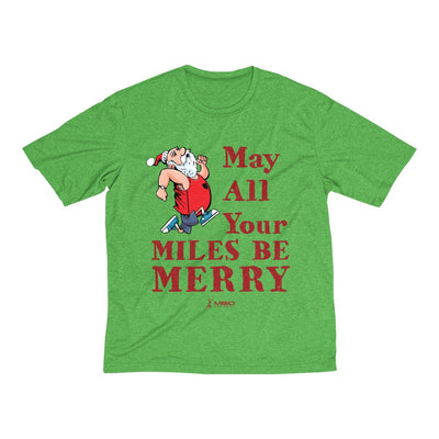 May All Your Miles Be Merry Men's Short Sleeve Tech Shirt T-Shirt Printify Sport-Tek Turf Green Heather XS