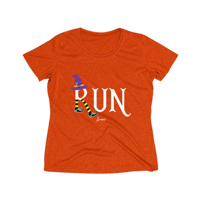 Running Witch Halloween Women's Short Sleeve Tech Shirt T-Shirt Printify Sport-Tek Deep Orange Heather XS