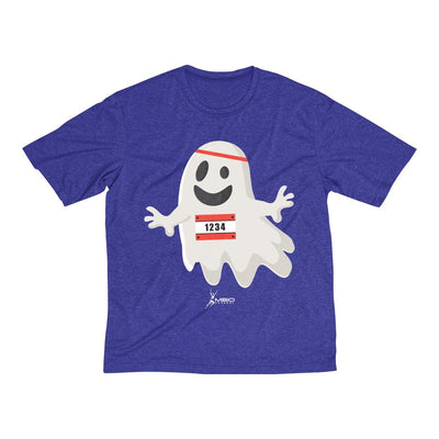 Happy Ghost Runner Halloween Men's Short Sleeve Tech Shirt T-Shirt Printify Sport-Tek Cobalt Heather XS