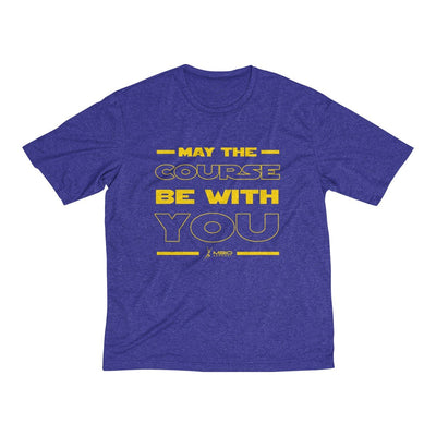 May The Course Be With You Men's Short Sleeve Tech Shirt T-Shirt Printify Sport-Tek Cobalt Heather XS