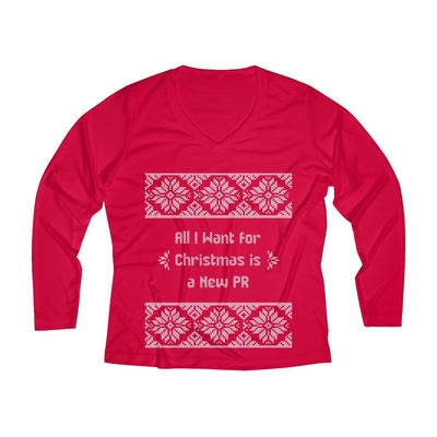 All I Want for Christmas Women's Long Sleeve Tech Shirt Long-sleeve Printify Sport-Tek True Red XS