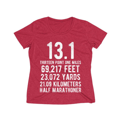 Half-Marathoner Women's Short Sleeve Tech Shirt T-Shirt Printify Sport Tek Scarlet Heather XS