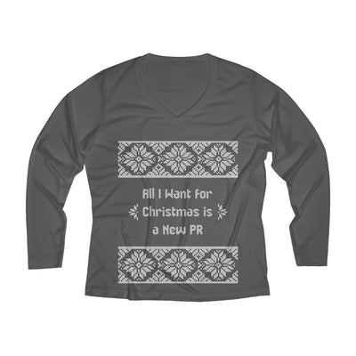 All I Want for Christmas Women's Long Sleeve Tech Shirt Long-sleeve Printify Sport-Tek Iron Grey XS
