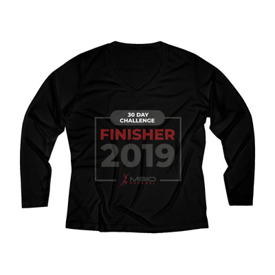 2019 30 Day Challenge Finisher Women's Long Sleeve Tech Shirt Long-sleeve Printify Black XS