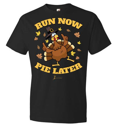 Run Now Pie Later T-Shirt T-Shirt Mbio Apparel Anvil Black S