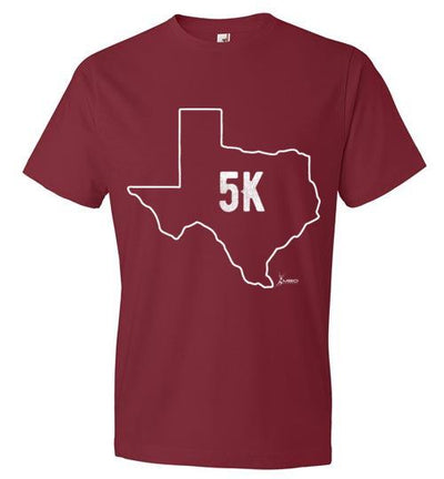 Texas Outline 5K T-Shirt T-Shirt Mbio Apparel Anvil Independence Red S