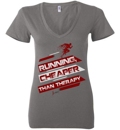 Running, Cheaper Than Therapy Ladies V-Neck T-Shirt T-Shirt Mbio Apparel Bella Asphalt S