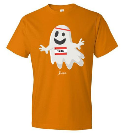 Happy Ghost Runner Halloween T-Shirt T-Shirt Mbio Apparel Anvil Mandarin Orange S