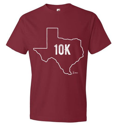 Texas Outline 10K T-Shirt T-Shirt Mbio Apparel Anvil Independence Red S